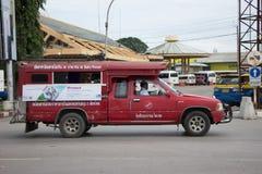 Κόκκινο ταξί Chiang Mai, για τον επιβάτη από τη στάση λεωφορείου Στοκ Εικόνα