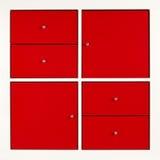 κόκκινο τετράγωνο γραφεί& Στοκ Εικόνες