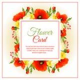 Κόκκινο τετράγωνο καρτών λουλουδιών ελεύθερη απεικόνιση δικαιώματος