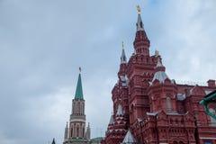 Κόκκινο τετράγωνο Μόσχα Κρεμλίνο στη νεφελώδη ημέρα Στοκ Εικόνες