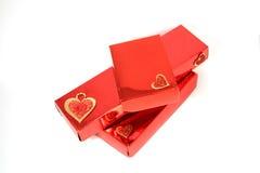 κόκκινο τρία δώρων κιβωτίων Στοκ Φωτογραφία