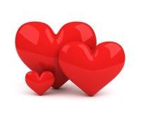 κόκκινο τρία καρδιών Στοκ εικόνες με δικαίωμα ελεύθερης χρήσης