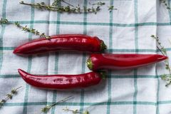 Κόκκινο τρία - τα καυτά πιπέρια τσίλι βρίσκονται σε ένα ντυμένο ύφασμα Το Hurbs χρησιμοποιείται ως διακόσμηση Στοκ φωτογραφία με δικαίωμα ελεύθερης χρήσης