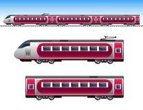 Κόκκινο τραίνο επιβατών διανυσματική απεικόνιση