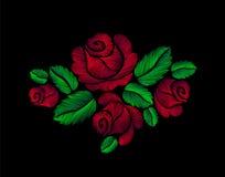 Κόκκινο τριαντάφυλλων κεντητικής λουλούδι απεικόνισης μόδας συρμένο χέρι Στοκ Εικόνες