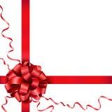 Κόκκινο τόξο δώρων με μια κορδέλλα Στοκ Φωτογραφίες