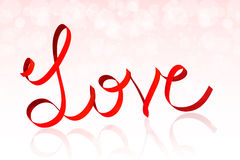 Κόκκινο υπόβαθρο αγάπης κορδελλών Στοκ Φωτογραφία