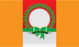 Κόκκινο υπόβαθρο καρτών Χριστουγέννων και πράσινο έμβλημα κορδελλών Στοκ Εικόνες