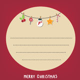 Κόκκινο υπόβαθρο παραθύρων κειμένου κύκλων Χριστουγέννων καρτών Διανυσματική απεικόνιση eps10 Στοκ Εικόνες