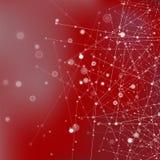 Κόκκινο υπόβαθρο τεχνολογίας με τα μόρια Στοκ Φωτογραφία