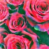 Κόκκινο υπόβαθρο τριαντάφυλλων Watercolor Στοκ εικόνα με δικαίωμα ελεύθερης χρήσης