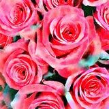 Κόκκινο υπόβαθρο τριαντάφυλλων Watercolor Στοκ Εικόνες