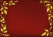 Κόκκινο υπόβαθρο τυποποιημένο ως κόκκινο βελούδο που διακοσμείται με τα χρυσά φύλλα και τα σημεία Στοκ Εικόνες