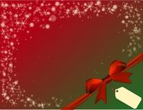 Κόκκινο υπόβαθρο Χριστουγέννων με το κόκκινο τόξο στην πράσινη γωνία Στοκ Φωτογραφίες