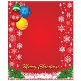 Κόκκινο υπόβαθρο Χριστουγέννων με snowflake και τις σφαίρες Στοκ Φωτογραφίες