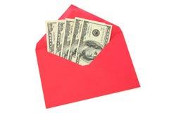 κόκκινο φακέλων δολαρίων Στοκ εικόνες με δικαίωμα ελεύθερης χρήσης