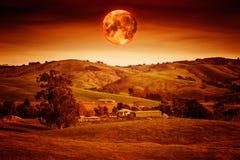 Κόκκινο φεγγάρι αίματος Στοκ Εικόνες