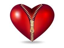 κόκκινο φερμουάρ καρδιών &s Στοκ εικόνα με δικαίωμα ελεύθερης χρήσης