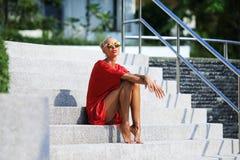 κόκκινο φορεμάτων jess Στοκ Φωτογραφίες