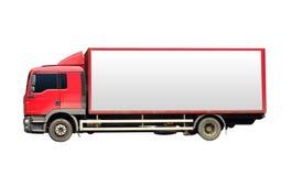 Κόκκινο φορτηγό για τη μεταφορά με το λευκό πίνακα στοκ φωτογραφία με δικαίωμα ελεύθερης χρήσης