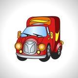 Κόκκινο φορτηγό μηχανημάτων απεικόνισης παιδιών Στοκ φωτογραφία με δικαίωμα ελεύθερης χρήσης