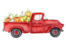 Κόκκινο φορτηγό συγκομιδών με την απεικόνιση watercolor ημέρας των ευχαριστιών κολοκυθών στοκ φωτογραφίες