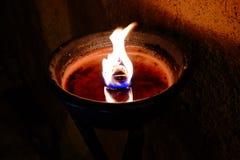Κόκκινο φως κεριών, φλόγα Στοκ Εικόνες
