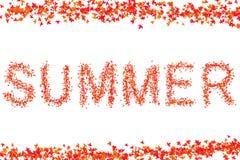 Κόκκινο φωτεινό σχέδιο ιδρύματος συνθήματος θερινής επιγραφής στο άσπρο μέρος πλαισίων υποβάθρου της χλωρίδας φύλλων σφενδάμου διανυσματική απεικόνιση