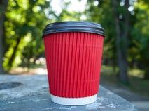 Κόκκινο φλιτζάνι του καφέ εγγράφου Στο πλαστικό γυαλί κάλυψης Φωτογραφία που λαμβάνεται στο πάρκο Στοκ Φωτογραφία