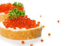 Κόκκινο χαβιάρι με το ψωμί Στοκ Εικόνες