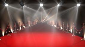 Κόκκινο χαλί με το βίντεο φω'των απόθεμα βίντεο