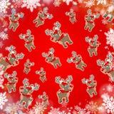 Κόκκινο χαριτωμένο υπόβαθρο ταράνδων Χριστουγέννων Στοκ Εικόνες