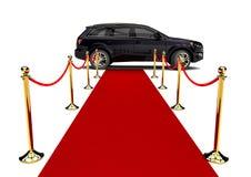Κόκκινο χαλί και μια πολυτέλεια SUV Στοκ φωτογραφία με δικαίωμα ελεύθερης χρήσης