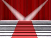 Κόκκινο χαλί στα σκαλοπάτια, αναμμένα από δύο επίκεντρα σε ένα υπόβαθρο των κόκκινων κουρτινών διανυσματική απεικόνιση