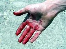 κόκκινο χεριών Στοκ φωτογραφία με δικαίωμα ελεύθερης χρήσης