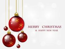 κόκκινο Χριστουγέννων σφαιρών eps Χριστουγέννων 8 ανασκόπησης συμπεριλαμβανόμενο αρχείο διάνυσμα Στοκ Φωτογραφία
