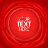 Κόκκινο χρωματισμένο κλωστοϋφαντουργικό προϊόν έμβλημα με τη μορφή στο κέντρο για το κείμενο Στοκ Εικόνα