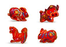 Κόκκινο χρώμα δώδεκα zodiacs SE 4 ελεύθερη απεικόνιση δικαιώματος