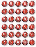 Κόκκινο χρώμιο γύρω από το αλφάβητο χρωμίου κουμπιών Στοκ εικόνα με δικαίωμα ελεύθερης χρήσης