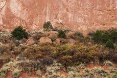 κόκκινο χώμα απότομων βράχων Στοκ Φωτογραφία