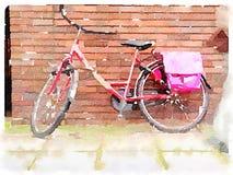 Κόκκινο ψηφιακό watercolour ποδηλάτων Στοκ Εικόνες