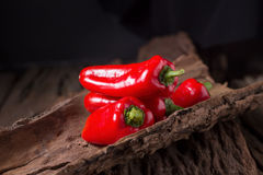 Κόκκινο ψυχρό πιπέρι στο ξύλινο μαύρο υπόβαθρο Κόκκινος - καυτό τσίλι pepp Στοκ εικόνα με δικαίωμα ελεύθερης χρήσης