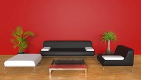 κόκκινο δωμάτιο διαβίωση&s Στοκ Εικόνες