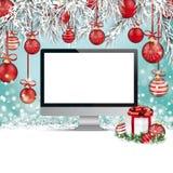 Κόκκινο όργανο ελέγχου χιονιού FrozenTwigs μπιχλιμπιδιών Χριστουγέννων απεικόνιση αποθεμάτων