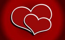 κόκκινο δύο καρδιών Στοκ Εικόνες