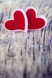 κόκκινο δύο καρδιών Στοκ Φωτογραφίες