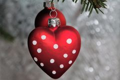 κόκκινο δύο Χριστουγέννω& Στοκ Φωτογραφίες
