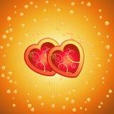 κόκκινο διάνυσμα δύο καρδιών Στοκ Εικόνες