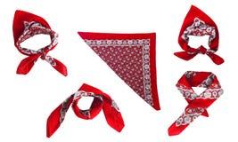 Κόκκινο bandana μαντίλι για το κεφάλι με ένα σχέδιο, που απομονώνεται Στοκ Εικόνα