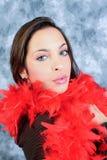Κόκκινο boa κορίτσι Στοκ εικόνα με δικαίωμα ελεύθερης χρήσης